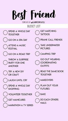 bucket list for girls bucket list for best friends Teen Sleepover, Fun Sleepover Ideas, Sleepover Activities, Sleepover Party Games, Best Friend Dates, Best Friend Quiz, Best Friend Gifts, Best Friend Bucket List, Bucket List For Teens
