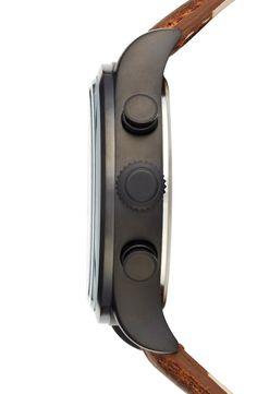 c13a92392a36 Timex® Waterbury Chronograph Leather Strap Watch