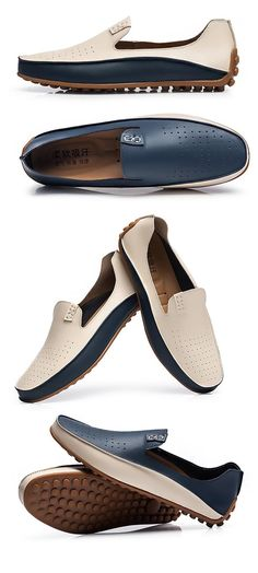 Big Size Men Color Blocking Lazy Slip On Flat Casual Doug Loafers