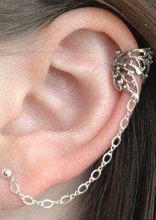 Pink Aurora Gem Silver Hearts Ear Cuff Chain Post Earring Posts Cuffs And