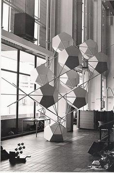 Gerard Caris Pentagonism Polyhedral netstructure 1977 installed in the turbine hall electric power plant, Rotterdam aluminum, steel, paint600x1000x400cm Source: http://www.gerardcaris.com/artwork-FF.html