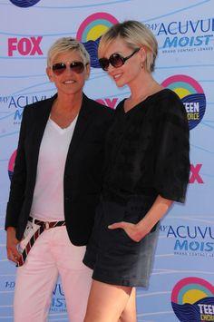 Ellen Degeneres and Portia de Rossi walk red carpet at Teen Choice Awards
