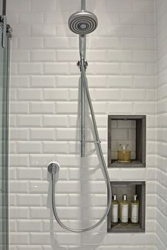 Bathroom Tile Ideas - Creative shower area with white metro wall tiles and recessed storage. The basalt edging finishes the recesses and creates visual detail. I Family Bathroom Design Loft Bathroom, Family Bathroom, Bathroom Renos, Bathroom Shelves, Bathroom Organization, Bathroom Renovations, Bathroom Interior, Small Bathroom, Master Bathroom