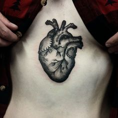 Anatomical Heart on sternum (at Off Key Tattoo Studio)