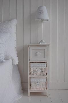 Side view of small bedside table with drawer and shelf favorite white wash narrow bedside table with drawers and baskets for storage watchthetrailerfo