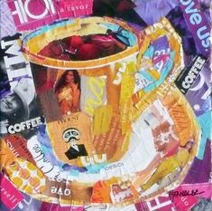 """Nancy Standlee Fine Art: """"Coffee, Thanks"""" 11024 ~ Torn Paper Collage Painting ~ by Texas Daily Painter Nancy Standlee"""