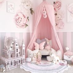 Our light pink canopy is such a statement piece in this room by pretty things.styling 😍😍😍 Pom Poms and a great variety of our soft toys… Baby Bedroom, Baby Room Decor, Nursery Room, Bedroom Decor, Nursery Decor, Bedroom Apartment, Girl Nursery, Bedroom Ideas, Wall Decor
