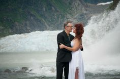 Flynn Fotography, Wedding Photography, Juneau Alaska Wedding, Juneau Alaska, Alaska Wedding, Alaska Bride, Alaskan Wedding Photography, Nugget Falls, Mendenhall Glacier, Bride  and Groom by Waterfall