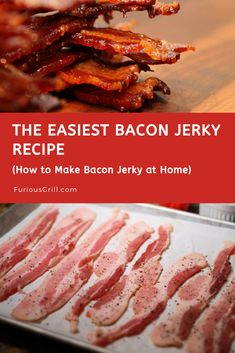 I am going to show you how to make bacon jerky at home step-by-step. I have been using this technique for a few years now and my family loves the delicious Easy Bacon Recipes, Jerky Recipes, Healthy Recipes, Sausage Recipes, Healthy Cooking, Beef Recipes, Cooking Recipes, Cooking Icon, Cooking Chef
