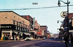Vintage downtown view Sudbury Canada, Manitoulin Island, Ontario, Shops, Street View, Memories, History, City, Places