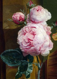 Flowers in a Vase,detail,1792, Paulus Theodorus van Brussel. Flower Art, Flower Vases, Art Flowers, Bekannte Maler, Cabbage Roses, Rose Art, Art Aquarelle, Still Life Art, Botanical Art