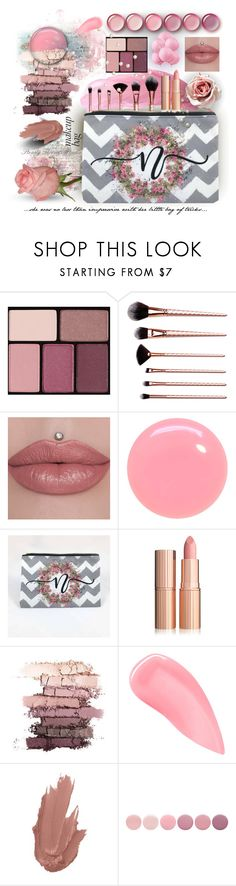 She was No Less Than Impressive by debschlier on Polyvore featuring Custom Monogram Cosmetics Bags by Steady Threads Studio with Kevyn Aucoin, Blend Minerals, Deborah Lippmann and JINsoon