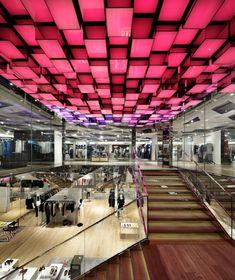 Mall Design, Retail Design, House Design, Shopping Mall Interior, Ceiling Canopy, False Ceiling Design, Digital Signage, Modern City, Wonderwall
