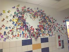 """It was a fun, fun, FUN first week of school! After going over the """"Art Rules"""", the students were introduced to artist David Kracov , t. Collaborative Art Projects, School Art Projects, Art School, School Days, School Stuff, School Displays, Library Displays, Butterfly Effect, Butterfly Wall"""