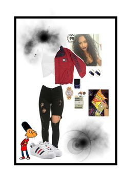 """""""Chill Fit"""" by onenuni ❤ liked on Polyvore featuring Topshop, adidas Originals, Ciner, Butter London, Versace, Jack Spade and Junk Food Clothing"""