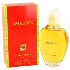 Amarige Perfume by Givenchy, Created by the design house of givenchy in 1991,  is classified as a sharp, oriental, floral fragrance. This feminine scent possesses a blend of violet, mimosa, soft sweet spices, and orange flowers. Accompanied by fruity notes of fresh citrus, melons, peaches, and plums. Various sizes are available.