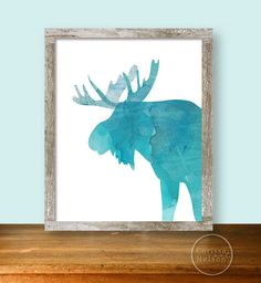 Turquoise Moose Watercolor Silhouette by CorissaNelsonArt on Etsy