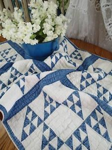 Tiny Pieces Antique c1880s Indigo Blue Amp White Crib or Table Quilt 41x26 | Vintageblessings