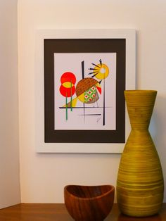 Mid Century Modern Bird Art 8x10 mixed media by COLBYandFRIENDS, $30.00