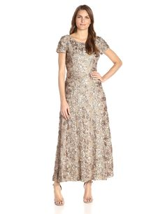 Alex Evenings Women's Long A-Line Rosette Dress with Short Sleeves and Sequin Detail at Amazon Women's Clothing store: