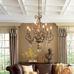 Quoizel Marquette 9 Light 32 inch Heirloom Chandelier Ceiling Light - - Beautiful living room with attention to details. The furnishing at accessories are simple and classic and details like the ceiling and drapes give the room ultimate style. Home Living Room, Living Room Designs, Living Spaces, Living Area, Cozy Living, Small Living, Home Decoracion, Interior Decorating, Interior Design