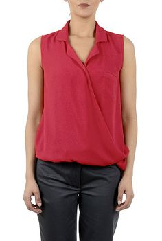 I <3 this Notch collar wrap front top from eShakti
