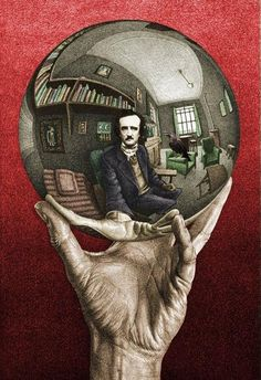 The hand and gazing ball, featuring Edgar Allen Poe, create and upside down teardrop shape.