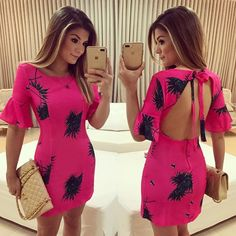 Casual Dresses For Women, Short Dresses, Casual Outfits, Summer Outfits, Pink Fashion, Fashion Outfits, Bodycon Dress Parties, Body Con Skirt, Look Casual