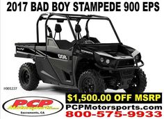 New 2017 Bad Boy Buggies STAMPEDE 900 EPS ATVs For Sale in California. 80HP EFI Engine On-Demand AWD Four-Wheel Double A-Arm Suspension with Front & Rear Sway Bars Class-Leading 24-cu-ft of Storage with Industry-First Extended Cab Electronic Power Steering Selectable Locking Rear Differential Hi/Lo Headlights 26-Inch Kenda Off-Road Performance Tires