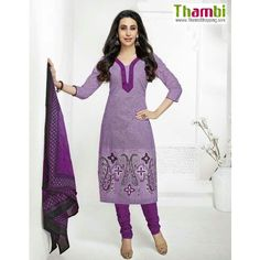 UNSTITCHED CHURIDAR- purple color Cotton printed Designer Salwar Kameez Churidar Material - Salwar Suit by Thambi shopping