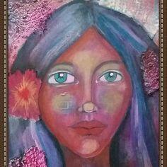 See more mixed media art on www.denisebos.com Medium Art, Mixed Media Art, Brick, Disney Characters, Fictional Characters, Aurora Sleeping Beauty, Disney Princess, Painting, Painting Art