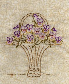Johnny Jump Up basket Silk Ribbon Embroidery, Vintage Embroidery, Floral Embroidery, Embroidery Stitches, Embroidery Patterns, Hand Embroidery, Yarn Crafts, Sewing Crafts, Johnny Jump Up