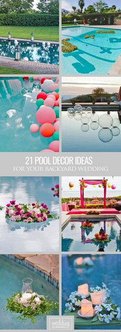 21 Wedding Pool Party Decoration Ideas For Your Backyard Wedding 21 Wedding Pool Party Decoration Ideas ❤ There are modern methods to decorate pool. See our collection of wedding pool decor ideas! Backyard Wedding Decorations, Pool Party Decorations, Floating Pool Decorations, Vintage Party Decorations, Pool Party Themes, Backyard Wedding Pool, Modern Backyard, Outdoor Pool, Floating Candles