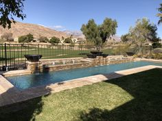 """This Swimming Pool features three of our 30VS firebowls and two 26VS firebowls. Each having a 16"""" Brushed Stainless Steel Scupper. Bowl Color is Oil Rubbed Bronze - Prismatic Powder coat. Brushed Stainless Steel, Oil Rubbed Bronze, Swimming Pools, Powder, Coat, Outdoor Decor, Swiming Pool, Pools, Sewing Coat"""