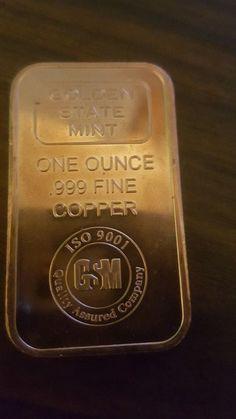 20 Ingots - Golden State Mint Bars • 1 oz each .999 Fine Copper Bullion Mint Bar, Copper Bar, Metal Crafts, Golden State, 1 Oz, Precious Metals, Black Gold, South Africa, Silver