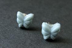 New to StumblingOnSainthood on Etsy: Mini Butterfly Earrings. Gray Blue Earrings. Grey Blue Butterfly Earrings. Silver Post Earrings. Stud Earrings. Handmade Jewelry. (6.00 USD)