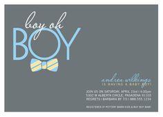 baby shower invitations - Bow Tie Boy Oh Boy by Elizabeth Victoria Designs