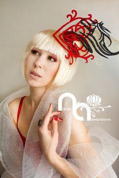 """Fascinator """"I love horses"""" from manually perforated fabric. Designed & handmade by Natalia Alexandrova"""
