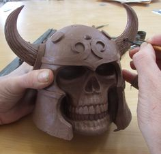 Horns being applied and textured ....