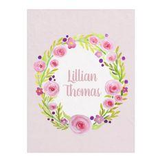 Girl Pink Watercolor Flower Wreath Name Children's Fleece Blanket - watercolor gifts style unique ideas diy