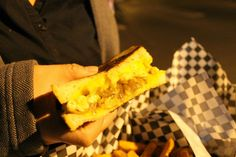 Had this amazing grilled cheese with mac 'n cheese, and grilled onions from Super Q food truck. Awesome vegetarian special.