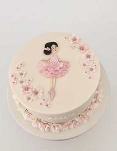 Ballerina inspired cake for little Maya's birthday. Ballerina inspired cake for little Maya's birthday. Ballet Birthday Cakes, Ballet Cakes, 7th Birthday Cakes, Ballerina Birthday Parties, Ballerina Party, Princess Birthday, Torte Ballerina, Dancer Cake, Barbie Cake