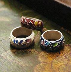 Cloisonne Silver Ring  All hand-made  Korean traditional accessories mean logn life, happiness, strong energy symbol, dignity, hope, ward off evil, etc..