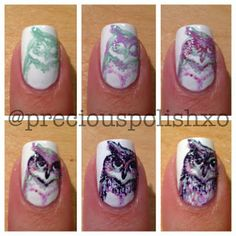 The rest of the mani is gorgeous, but this owl is AMAZING!