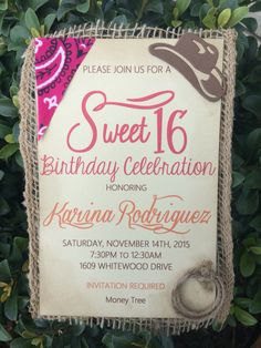 Country Theme Sweet Sixteen Invite