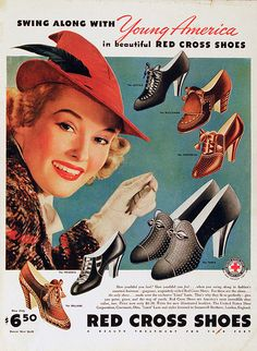 Intrigued by the feminine style of fashion? We have 15 trends exclusive just for you! 1930s Shoes, Vintage Shoes, Vintage Outfits, Retro Shoes, Vintage Clothing, Vintage Advertisements, Vintage Ads, Vintage Posters, Retro Posters