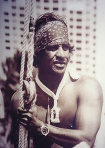 """""""Eddie Aikau aboard Hokule'a on the fateful day of departure, March 16, 1978"""""""