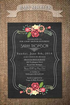 DIY Printable Floral Baby Shower Invitation by KelevGirlDesigns, $15.50