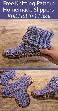 Knitted Booties, Crochet Boots, Knitted Slippers, Easy Knitting, Loom Knitting, Knitting Socks, Knitting Machine, Knit Slippers Free Pattern, Crochet Slipper Pattern