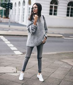 Gray Jeans Outfit Pictures grey knitwear grey layers grey outfits grey is a trend Gray Jeans Outfit. Here is Gray Jeans Outfit Pictures for you. Fashion Mode, Look Fashion, Winter Fashion, Womens Fashion, Ladies Fashion, Korean Fashion, Trendy Fashion, Fashion Ideas, Fashion Outfits